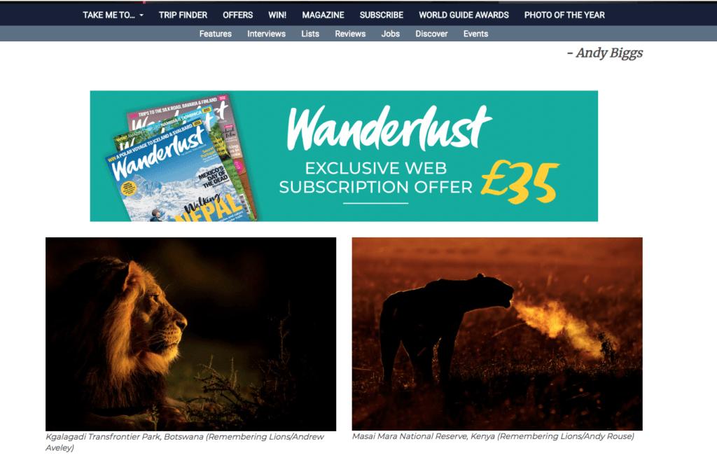 Wanderlust.com - Remembering Wildlife - Wildlife Photographers United